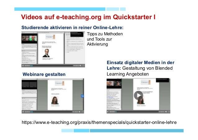 Videos auf e-teaching.org im Quickstarter I Webinare gestalten Studierende aktivieren in reiner Online-Lehre: https://www....