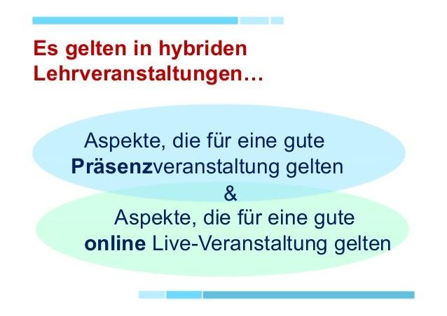 Aspekte, die für eine gute Präsenzveranstaltung gelten Aspekte, die für eine gute online Live-Veranstaltung gelten Es gelt...