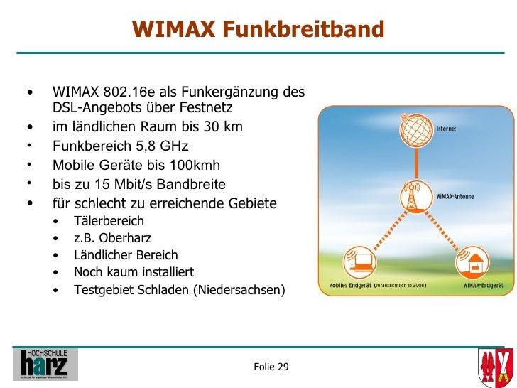 WIMAX Funkbreitband  •   WIMAX 802.16e als Funkergänzung des     DSL-Angebots über Festnetz •   im ländlichen Raum bis 30 ...