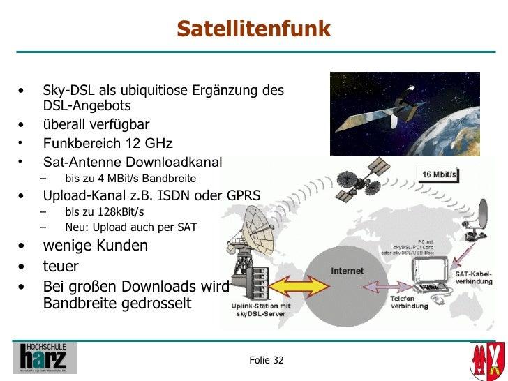 Satellitenfunk  •   Sky-DSL als ubiquitiose Ergänzung des     DSL-Angebots •   überall verfügbar •   Funkbereich 12 GHz • ...