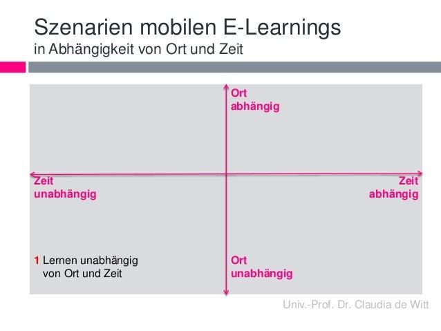 Szenarien mobilen E-Learnings  in Abhängigkeit von Ort und Zeit  Ort  abhängig  Zeit  unabhängig  1 Lernen unabhängig  von...