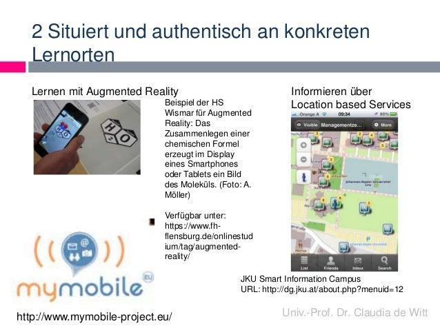 2 Situiert und authentisch an konkreten  Lernorten  Informieren über  Location based Services  JKU Smart Information Campu...