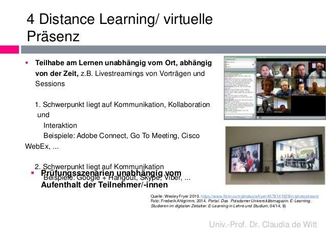 4 Distance Learning/ virtuelle  Präsenz   Teilhabe am Lernen unabhängig vom Ort, abhängig  von der Zeit, z.B. Livestreami...