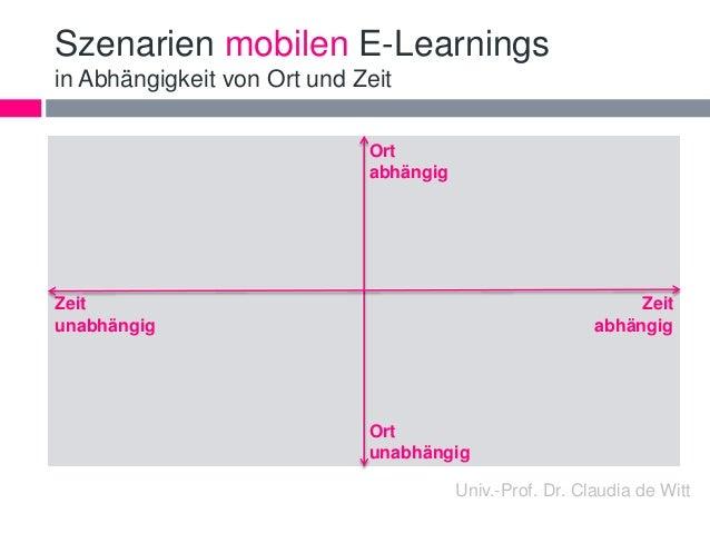 Szenarien mobilen E-Learnings  in Abhängigkeit von Ort und Zeit  Ort  abhängig  Zeit  unabhängig  Zeit  abhängig  Ort  una...