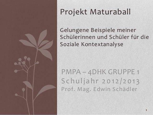 Projekt MaturaballGelungene Beispiele meinerSchülerinnen und Schüler für dieSoziale KontextanalysePMPA – 4DHK GRUPPE 1Schu...