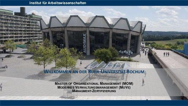 Institut für Arbeitswissenschaften WILLKOMMEN AN DER RUHR-UNIVERSITÄT BOCHUM MASTER OF ORGANIZATIONAL MANAGEMENT (MOM) MOD...