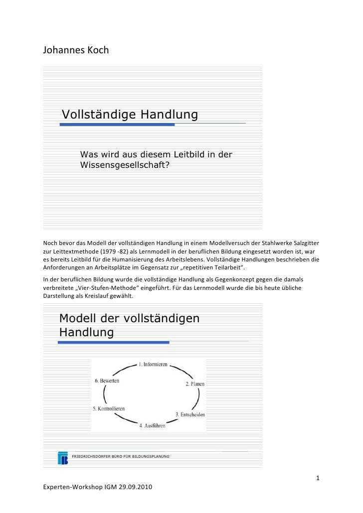 Johannes Koch           Vollständige Handlung                Was wird aus diesem Leitbild in der              Wissensgesel...