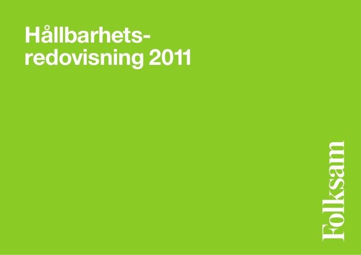Hållbarhets-redovisning 2011