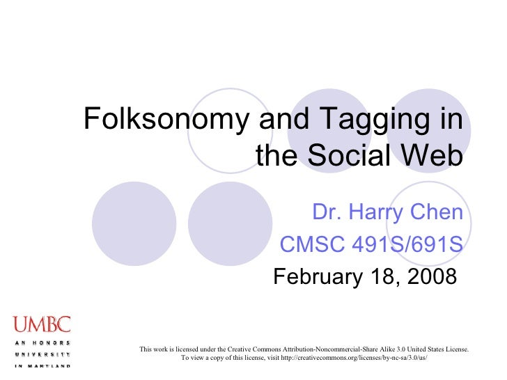 Folksonomy and Tagging in the Social Web Dr. Harry Chen CMSC 491S/691S February 18, 2008
