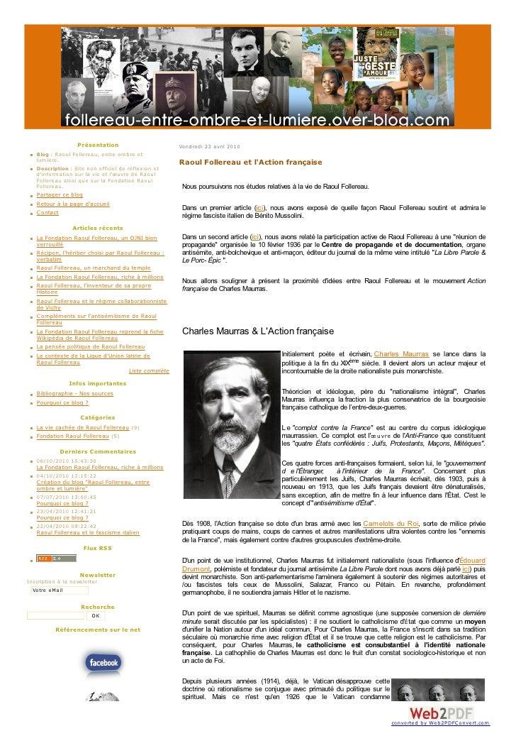 Présentation                       Vendredi 23 avril 2010    Blog : Raoul Follereau, entre om bre et    lum iere.         ...