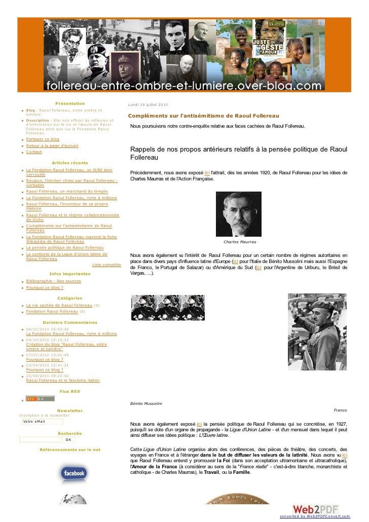 Présentation                       Lundi 19 juillet 2010    Blog : Raoul Follereau, entre om bre et    lum iere.          ...