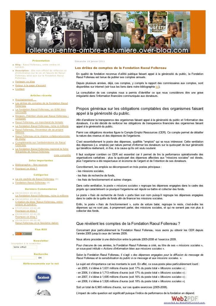 Présentation                       Dim anche 16 janvier 2011    Blog : Raoul Follereau, entre om bre et    lum iere.      ...