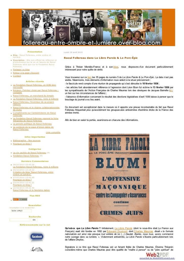 Présentation                       Lundi 19 avril 2010    Blog : Raoul Follereau, entre om bre et    lum iere.            ...