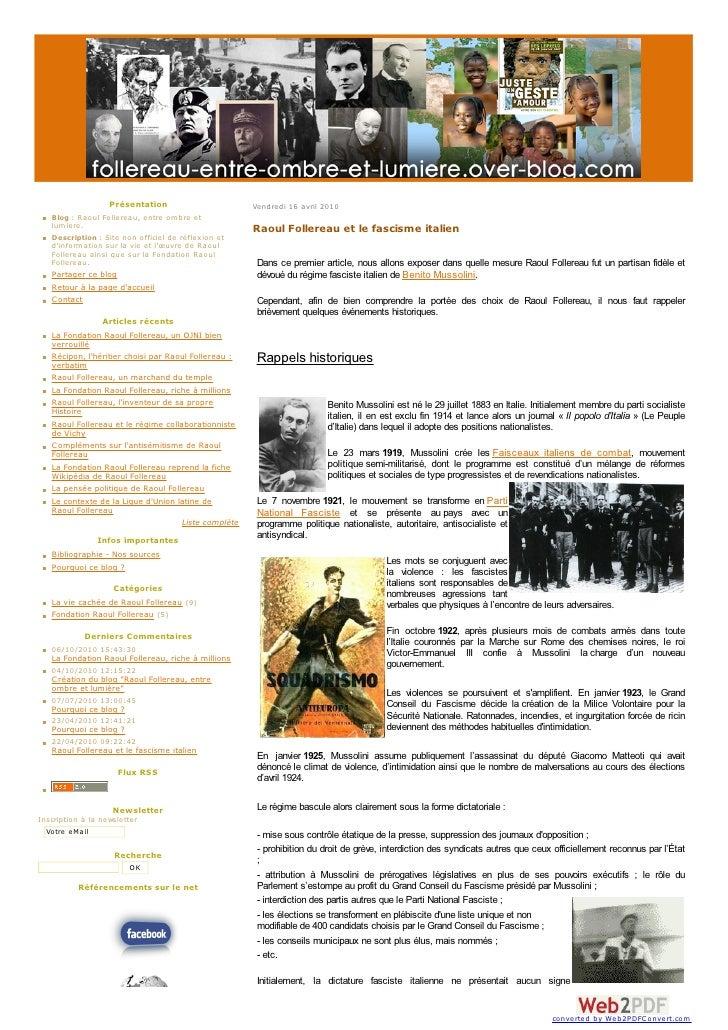 Présentation                              Vendredi 16 avril 2010     Blog : Raoul Follereau, entre ombre et lumiere.     D...