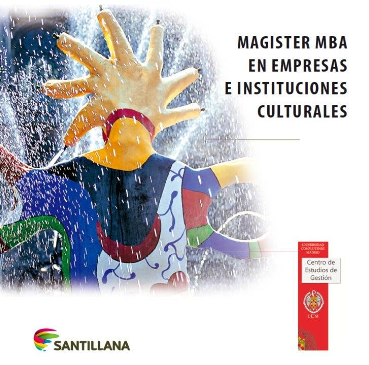 Folleto Máster MBA en Empresas  e Instituciones Culturales 2012-13