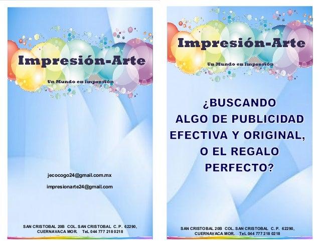 SAN CRISTOBAL 20B COL. SAN CRISTOBAL C. P. 62290, CUERNAVACA MOR. TeL 044 777 218 0218 jecocogo24@gmail.com.mx impresionar...