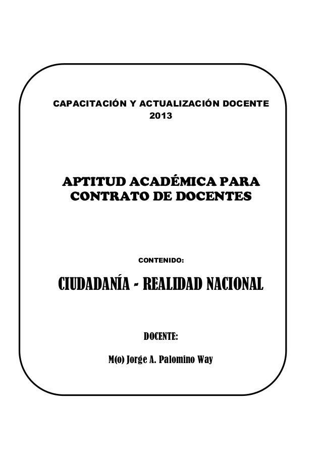 Ciudadanía: Capacitación y Actualización Docente   2013CAPACITACIÓN Y ACTUALIZACIÓN DOCENTE                 2013    APTITU...