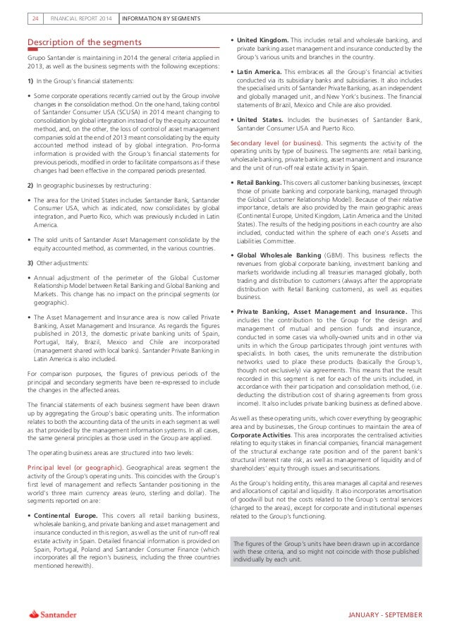 INFORMATION BY SEGMENTSFINANCIAL REPORT 201424 Description of the segments   Grupo Santander is maintaining in 2014 the ge...