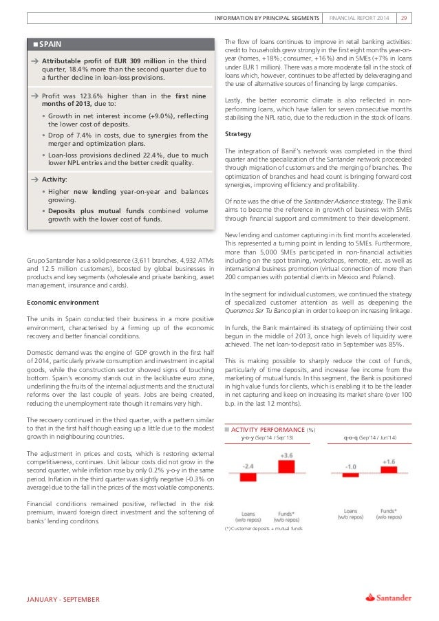 INFORMATION BY PRINCIPAL SEGMENTS FINANCIAL REPORT 2014 29 SPAIN Attributable profit of EUR 309 million in the third quart...