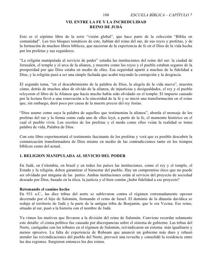 108              ESCUELA BÍBLICA – CAPÍTULO 7                             VII. ENTRE LA FE Y LA INCREDULIDAD              ...