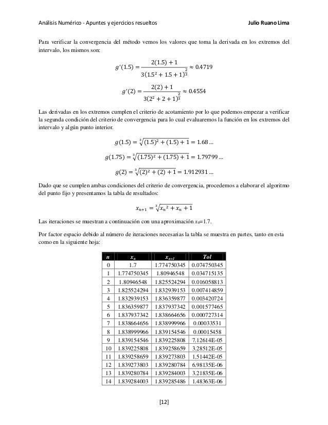 Análisis Numérico - Apuntes y ejercicios resueltos Julio Ruano Lima Para verificar la convergencia del método vemos los va...