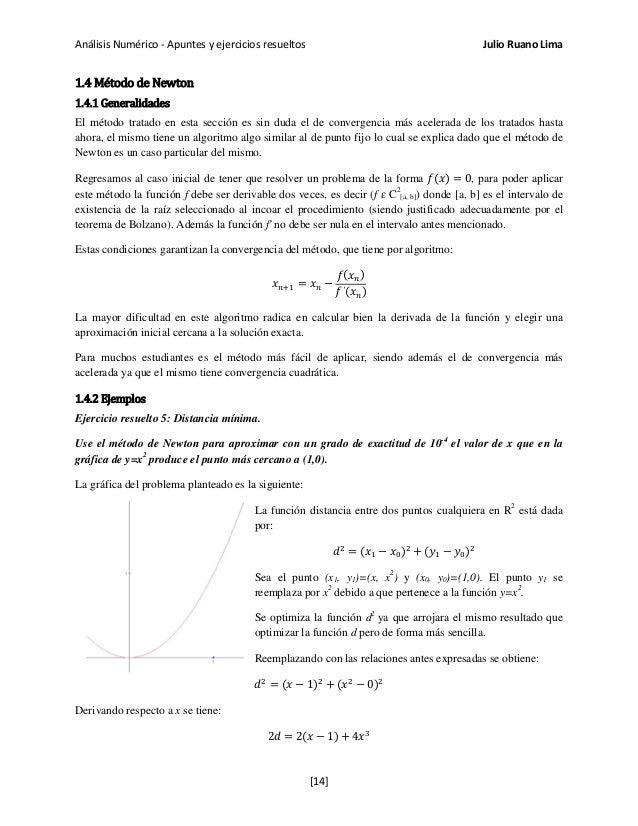 Análisis Numérico - Apuntes y ejercicios resueltos Julio Ruano Lima 1.4 Método de Newton 1.4.1 Generalidades El método tra...