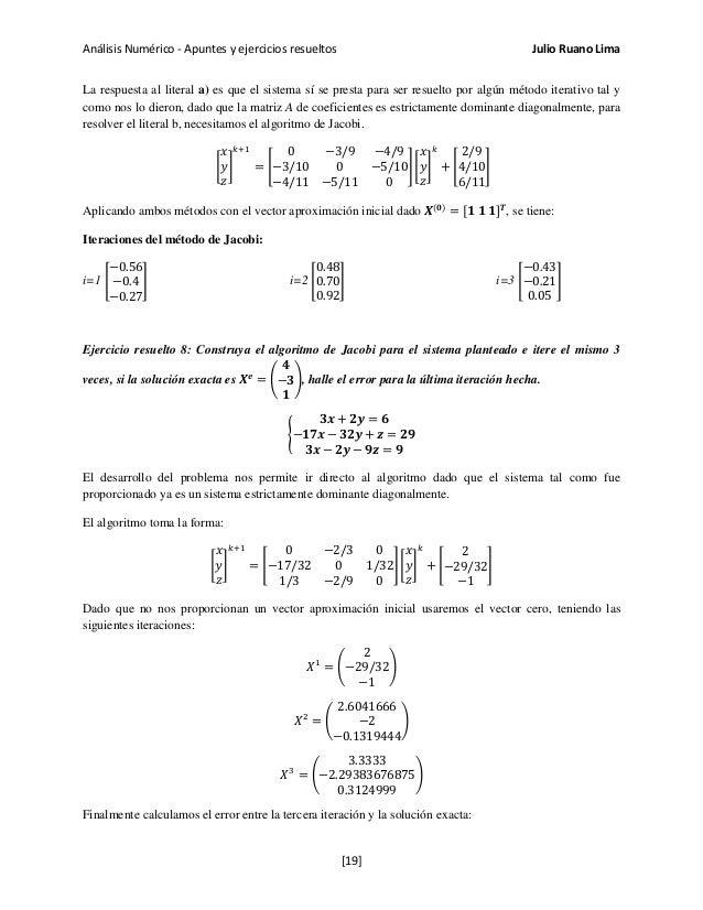 Análisis Numérico - Apuntes y ejercicios resueltos Julio Ruano Lima La respuesta al literal a) es que el sistema sí se pre...