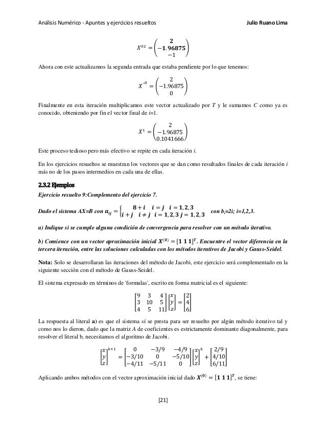 Análisis Numérico - Apuntes y ejercicios resueltos Julio Ruano Lima 𝑋02 = � 𝟐 −𝟏. 𝟗𝟔𝟖𝟕𝟓 −1 � Ahora con este actualizamos l...