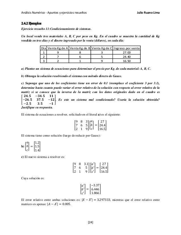 Análisis Numérico - Apuntes y ejercicios resueltos Julio Ruano Lima 2.4.2 Ejemplos Ejercicio resuelto 11:Condicionamiento ...