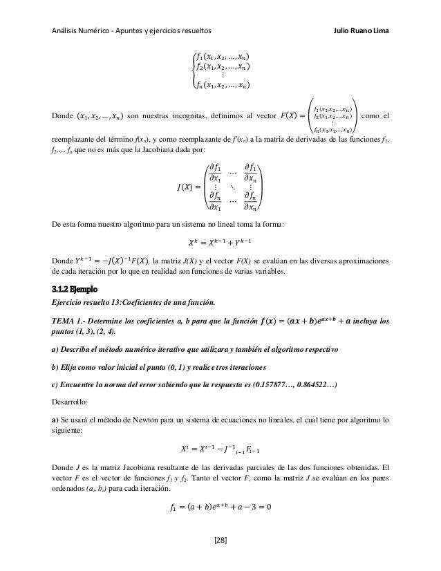 Análisis Numérico - Apuntes y ejercicios resueltos Julio Ruano Lima � 𝑓1(𝑥1, 𝑥2, … , 𝑥 𝑛) 𝑓2(𝑥1, 𝑥2, … , 𝑥 𝑛) ⋮ 𝑓𝑛(𝑥1, 𝑥2,...