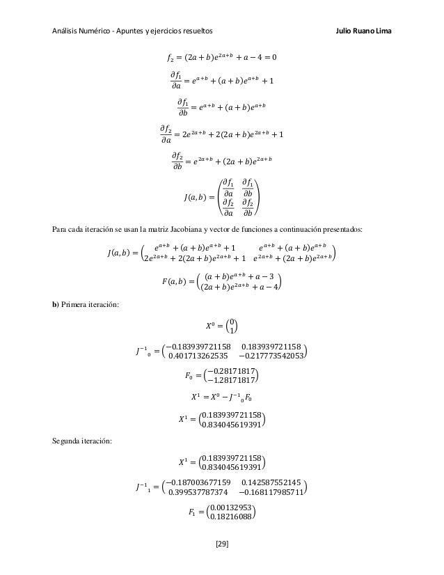 Análisis Numérico - Apuntes y ejercicios resueltos Julio Ruano Lima 𝑓2 = (2𝑎 + 𝑏)𝑒2𝑎+𝑏 + 𝑎 − 4 = 0 𝜕𝑓1 𝜕𝑎 = 𝑒 𝑎+𝑏 + (𝑎 + 𝑏...
