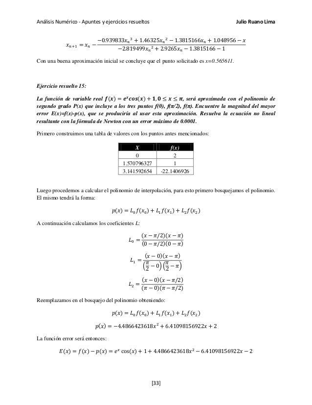 Análisis Numérico - Apuntes y ejercicios resueltos Julio Ruano Lima 𝑥 𝑛+1 = 𝑥 𝑛 − −0.939833𝑥 𝑛 3 + 1.46325𝑥 𝑛 2 − 1.381516...