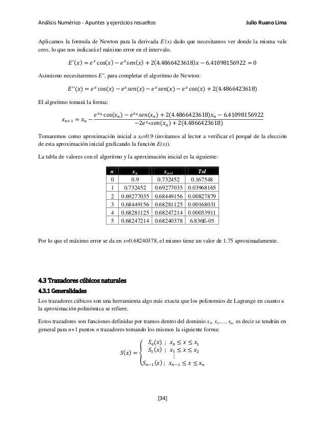 Análisis Numérico - Apuntes y ejercicios resueltos Julio Ruano Lima Aplicamos la formula de Newton para la derivada E'(x) ...