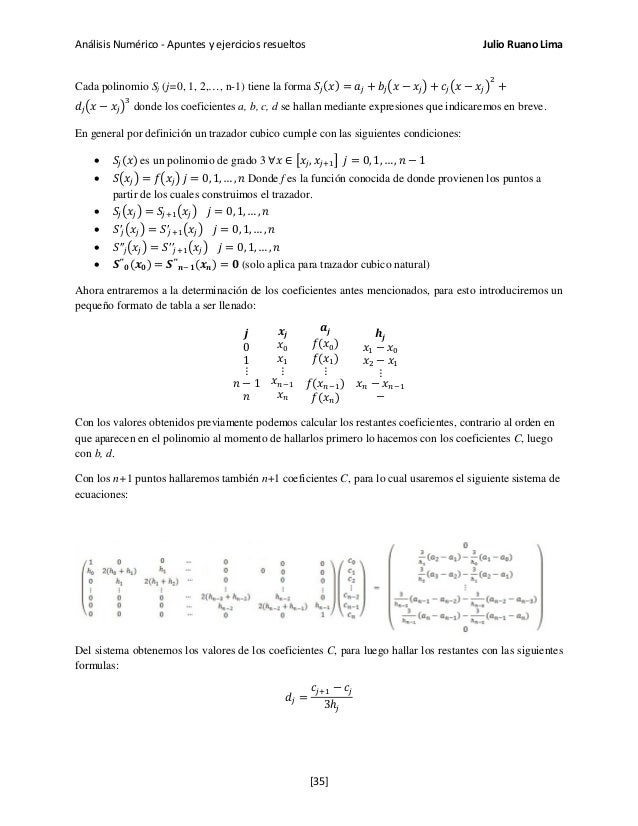 Análisis Numérico - Apuntes y ejercicios resueltos Julio Ruano Lima Cada polinomio Sj (j=0, 1, 2,…, n-1) tiene la forma 𝑆𝑗...