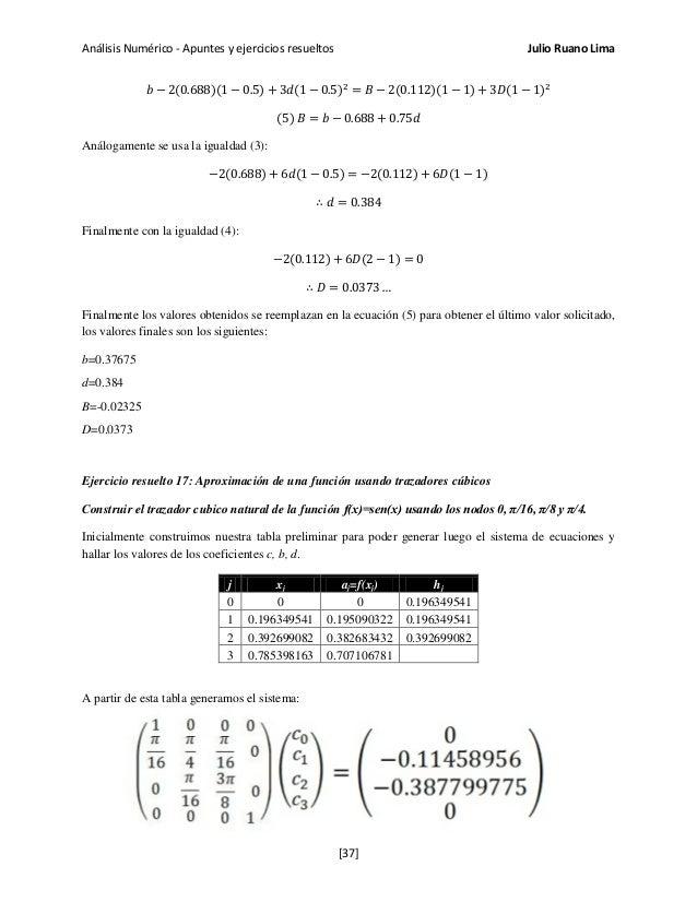 Análisis Numérico - Apuntes y ejercicios resueltos Julio Ruano Lima 𝑏 − 2(0.688)(1 − 0.5) + 3𝑑(1 − 0.5)2 = 𝐵 − 2(0.112)(1 ...