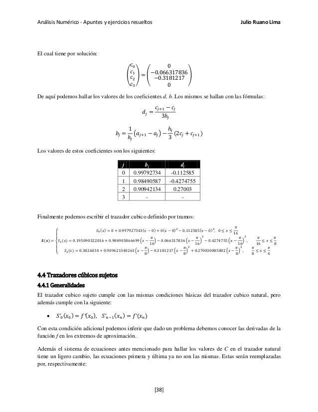 Análisis Numérico - Apuntes y ejercicios resueltos Julio Ruano Lima El cual tiene por solución: � 𝑐0 𝑐1 𝑐2 𝑐3 � = � 0 −0.0...