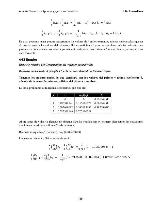 Análisis Numérico - Apuntes y ejercicios resueltos Julio Ruano Lima 2 3 ℎ0 𝑐0 + 1 3 ℎ0 𝑐1 = 1 ℎ0 (𝑎1 − 𝑎0) − 𝑏0; 𝑏0 = 𝑓′ (...