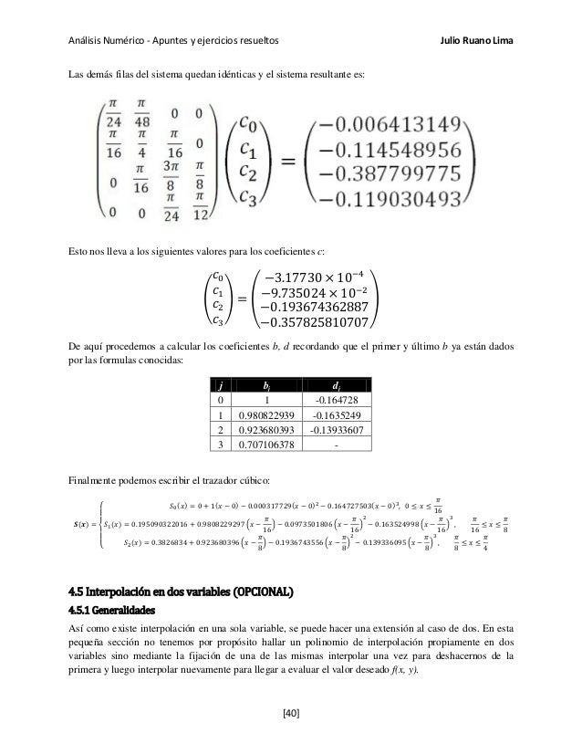 Análisis Numérico - Apuntes y ejercicios resueltos Julio Ruano Lima Las demás filas del sistema quedan idénticas y el sist...