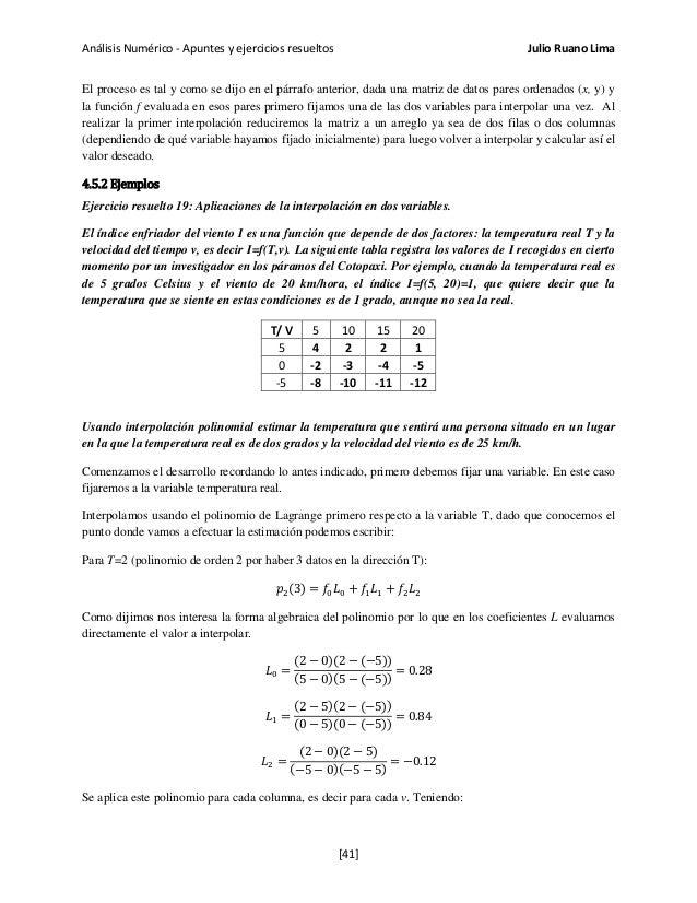 Análisis Numérico - Apuntes y ejercicios resueltos Julio Ruano Lima El proceso es tal y como se dijo en el párrafo anterio...