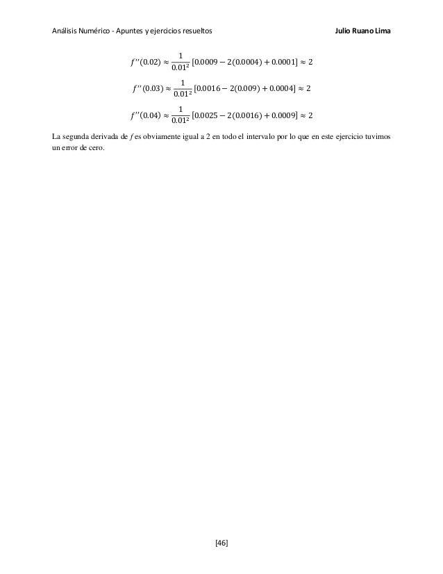 Análisis Numérico - Apuntes y ejercicios resueltos Julio Ruano Lima 𝑓′′(0.02) ≈ 1 0.012 [0.0009 − 2(0.0004) + 0.0001] ≈ 2 ...
