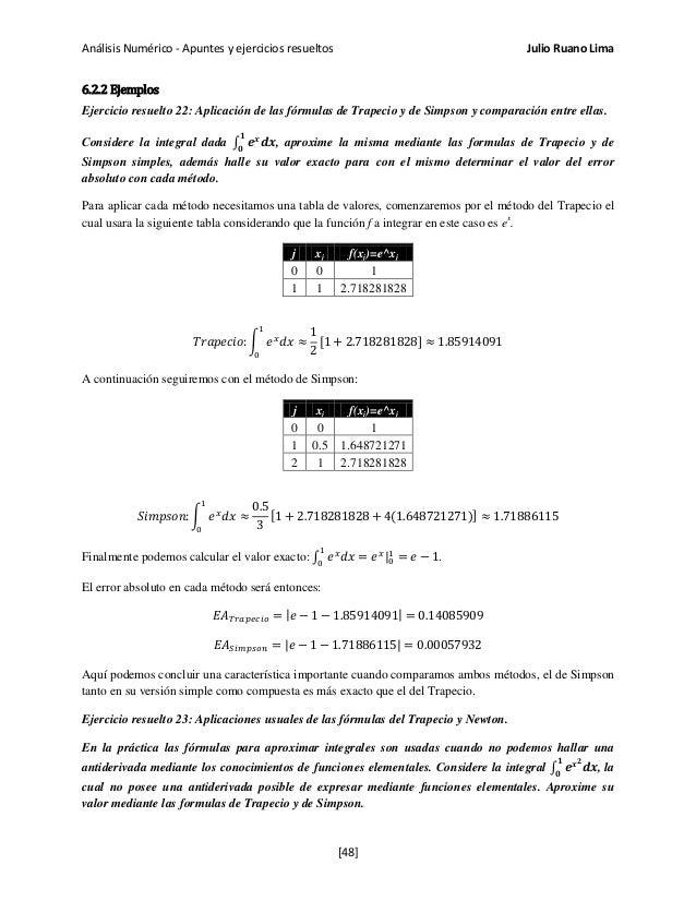 Análisis Numérico - Apuntes y ejercicios resueltos Julio Ruano Lima 6.2.2 Ejemplos Ejercicio resuelto 22: Aplicación de la...