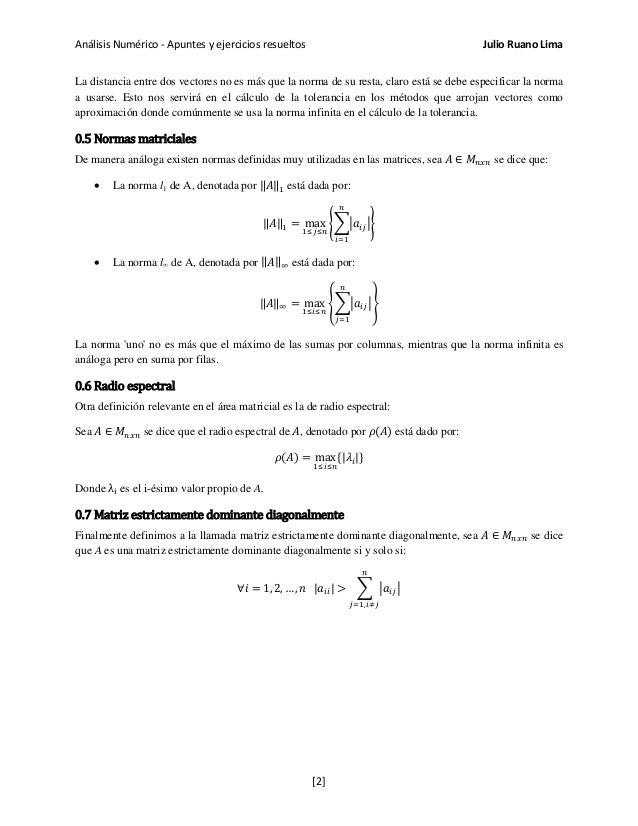 Análisis Numérico - Apuntes y ejercicios resueltos Julio Ruano Lima La distancia entre dos vectores no es más que la norma...