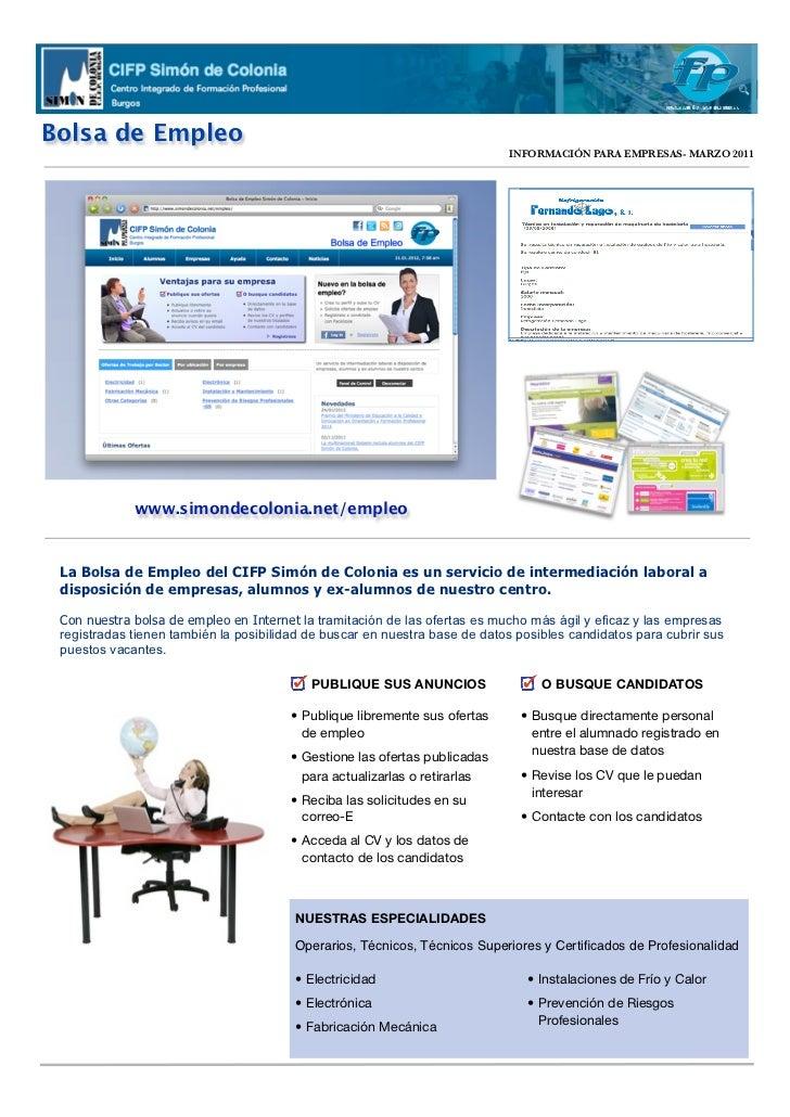 Bolsa de Empleo                                                                                  INFORMACIÓN PARA EMPRESAS...