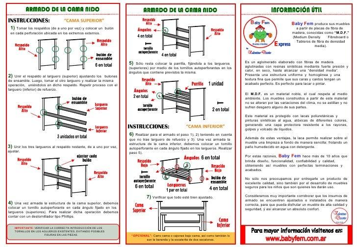 Instrucciones de armado para cama nido - Instrucciones montaje cuna ...