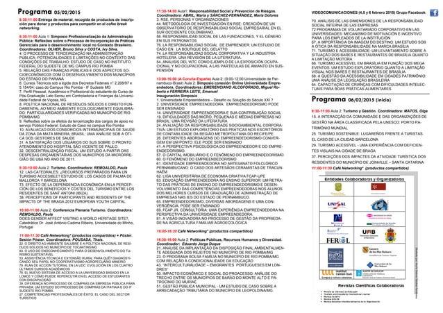 Programa 05/02/2015 Diseñadopor:MaríaDoloresSánchezFernández 8:30:11:00 Entrega de material, recogida de productos de insc...