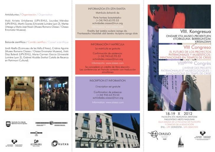 VIII Congreso El futuro de los Proyectos Patrimoniales y Museísticos: Innovación en Tiempos de Crisis
