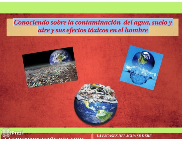 Folleto conociendo sobre la contaminación  del agua, suelo y aire y sus efectos tóxicos en el hombre