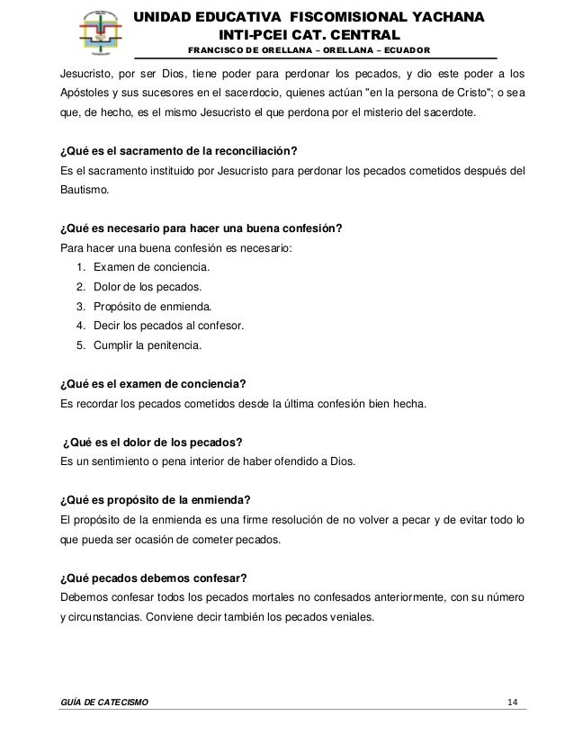 GUÍA DE CATECISMO 14 UNIDAD EDUCATIVA FISCOMISIONAL YACHANA INTI-PCEI CAT. CENTRAL FRANCISCO DE ORELLANA – ORELLANA – ECUA...