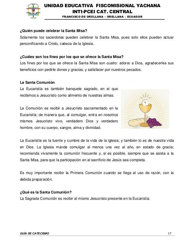 GUÍA DE CATECISMO 17 UNIDAD EDUCATIVA FISCOMISIONAL YACHANA INTI-PCEI CAT. CENTRAL FRANCISCO DE ORELLANA – ORELLANA – ECUA...