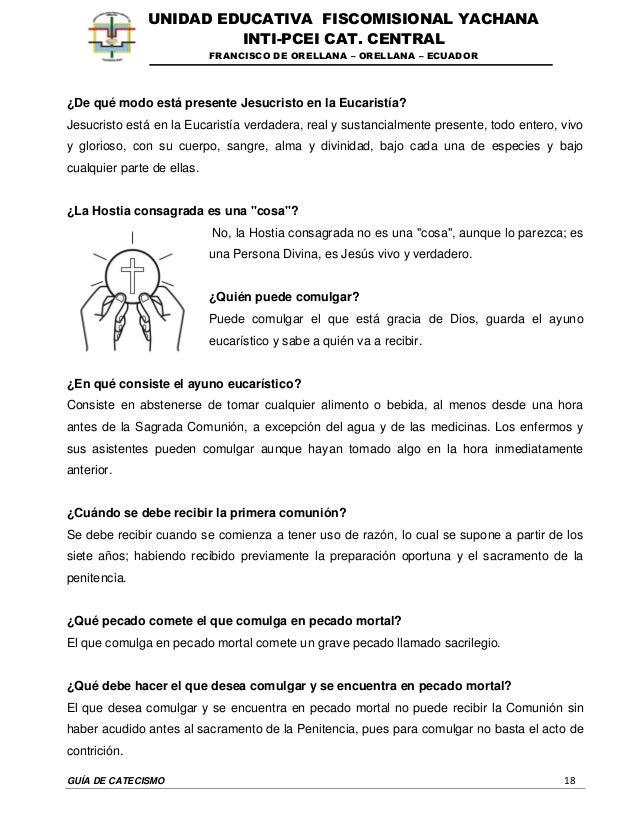 GUÍA DE CATECISMO 18 UNIDAD EDUCATIVA FISCOMISIONAL YACHANA INTI-PCEI CAT. CENTRAL FRANCISCO DE ORELLANA – ORELLANA – ECUA...